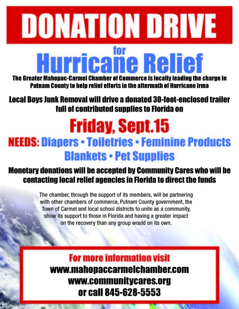 Hurricane Relief-Mahopac Carmel Chamber